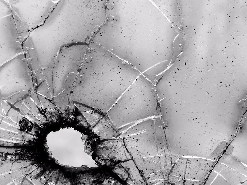 Glass, Bullet, Hole, Crack, Illustrative, Evidence