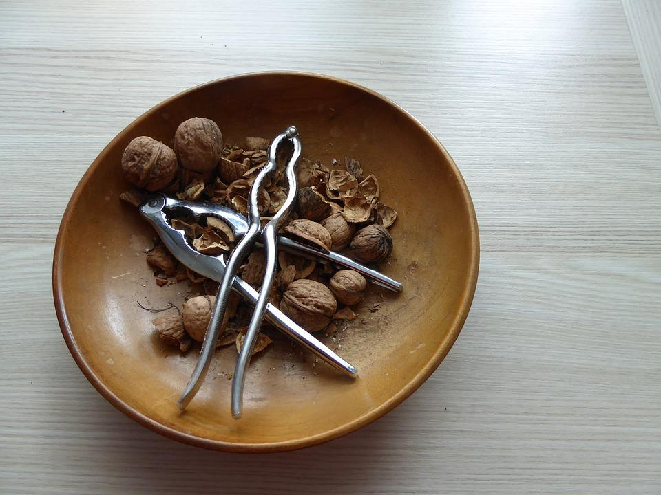 Nuts, Walnuts, Shell, Nutcracker, Cracked, Fruit Bowl