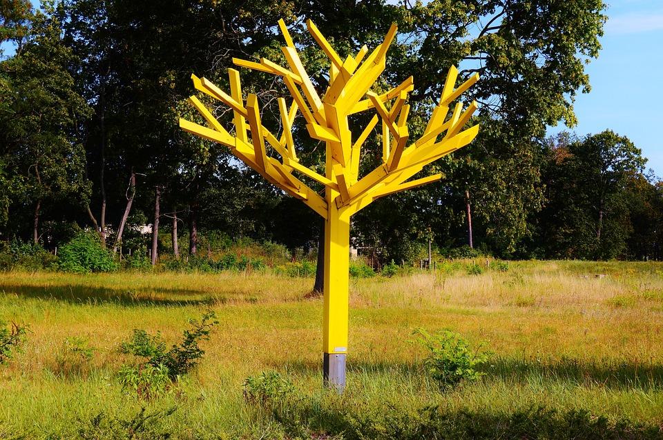 Tree, Art, Wood Model, Craft, Yellow