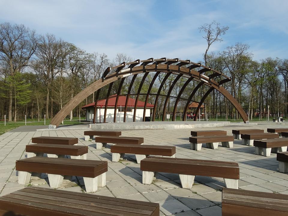 Park, Amphitheatre, Bench, Scene, Craiova