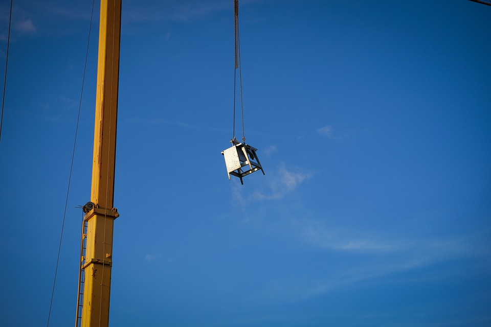 Construction Machine, Crane, High, Yellow Crane