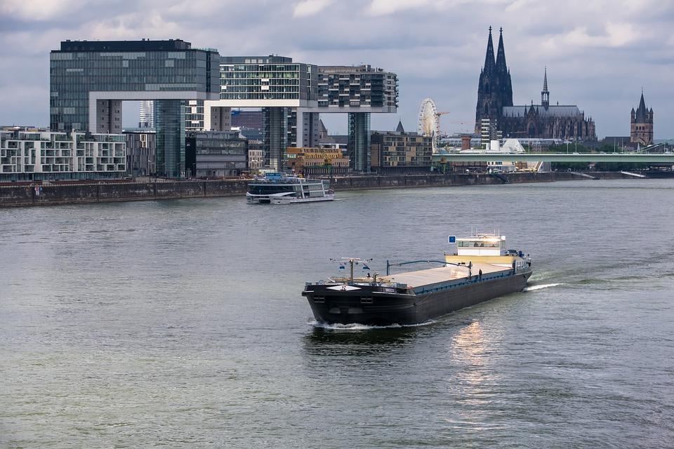 Rhine, Dom, Crane Homes, Ship, River, Church, Bridge