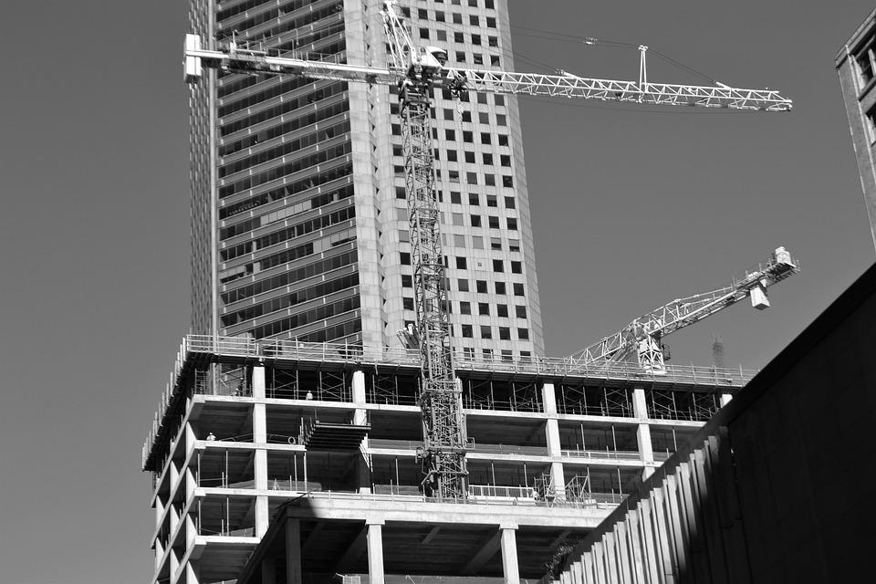 Parking Lot Under Construction, Crane, Parking Lot