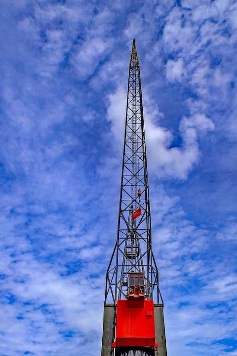 Port, Crane, Sky, Rotterdam, Netherlands, Holland
