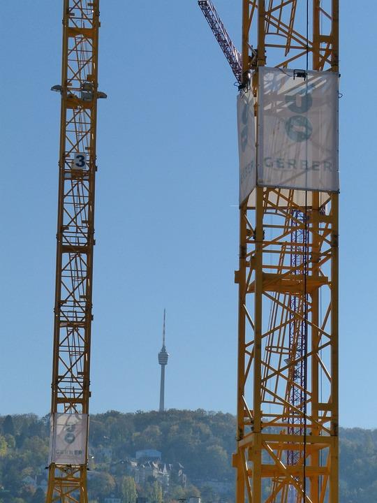 Stuttgart, Tv Tower, Cranes, Construction Sites