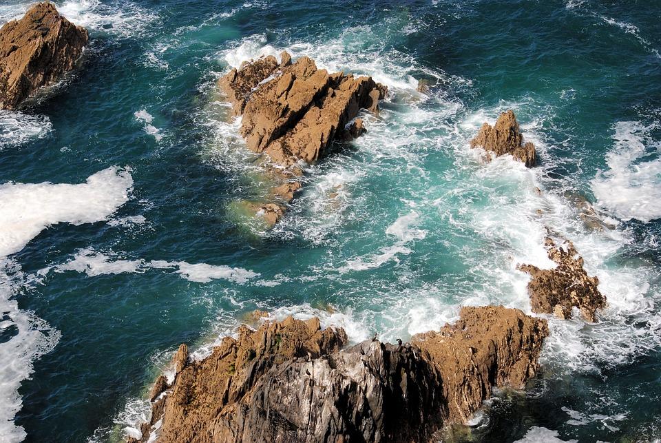Rocks, Crashing Waves, Foam, Shore, Ocean, Sea, Water