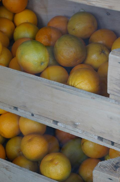 Fruit, Orange, Healthy, Crate