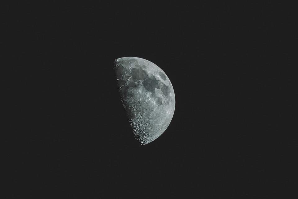 Crater, Dark, Luna, Lunar, Moon, Sky, Gray Sky