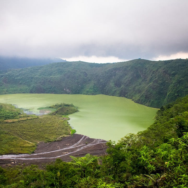 Green, Lake, Crater, Mountain, Hill, Travel, Tourism