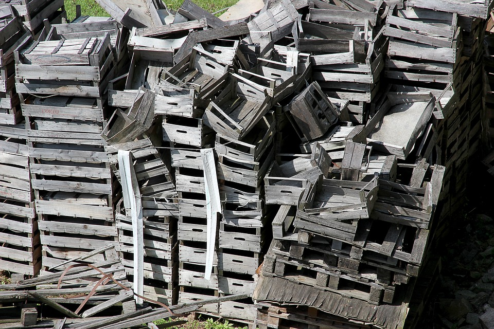 free photo crates apple crates wooden boxes garbage mess max pixel