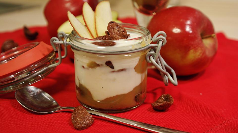 Dessert, Sweet Dish, Sweet, Cream, Yogurt, Apple, Eat