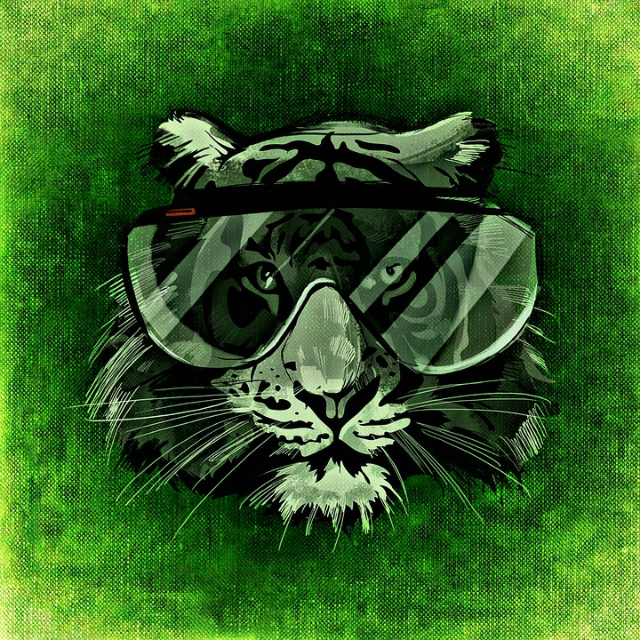 Tiger, Cool, Abstract, Funny, Glasses, Fun, Creative