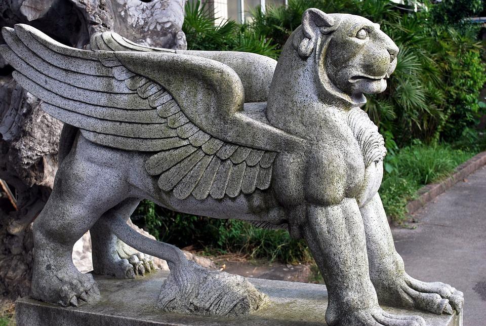 Statue, Mythology, Creature, Bird, Lion, Animal