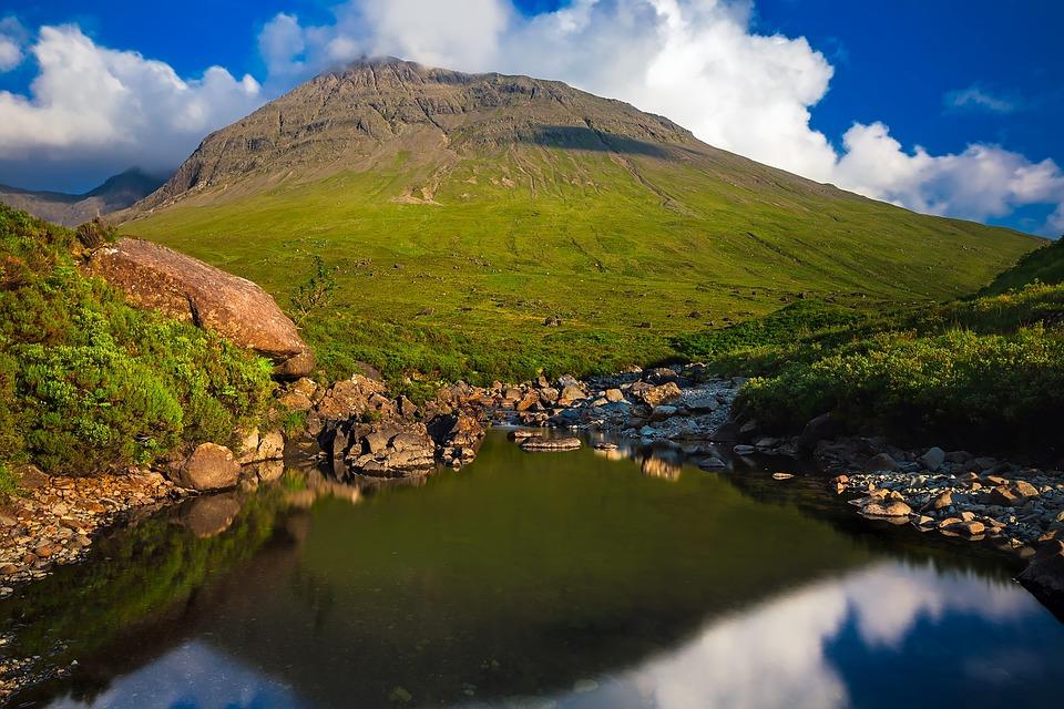 Isle Of Skye, Scotland, Mountain, Valley, Stream, Creek