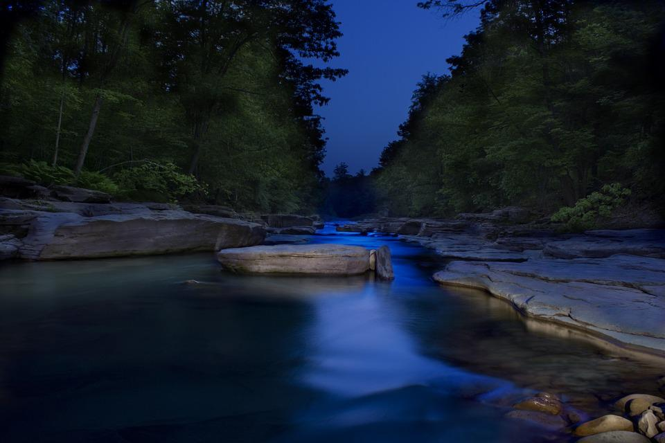 Water, Rocks, Stone, Blue, Creek, Light Painting, Night