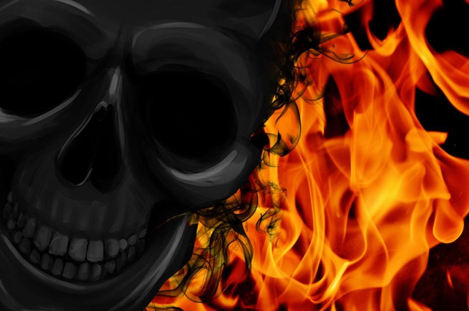 Fire, Skull And Crossbones, Creepy, Darkness, Mystical