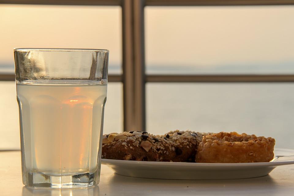 Malia, Crete, Sea, Sunset, Greece, Ouzo, Glass, Cakes