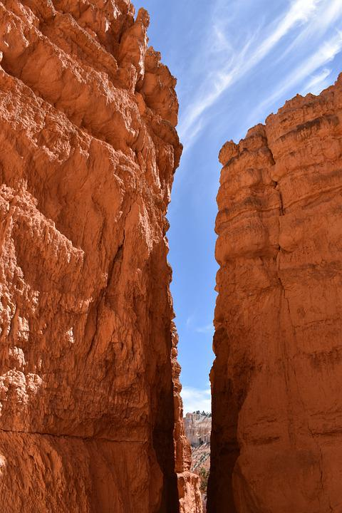 Bryce, Canyon, Rock, Crevasse, Red, America, Utah