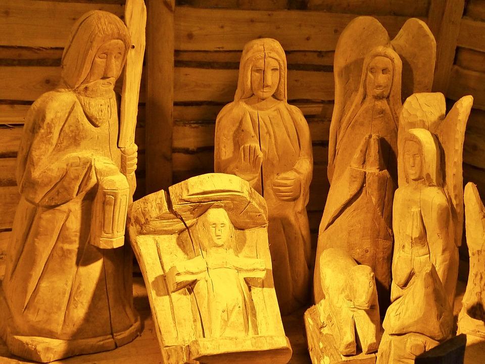 Crib, Hl, Family, Christmas, Stall, Wood, Figures