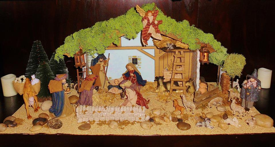 Crib, Father Christmas, Christmas, Old, Wooden Figures
