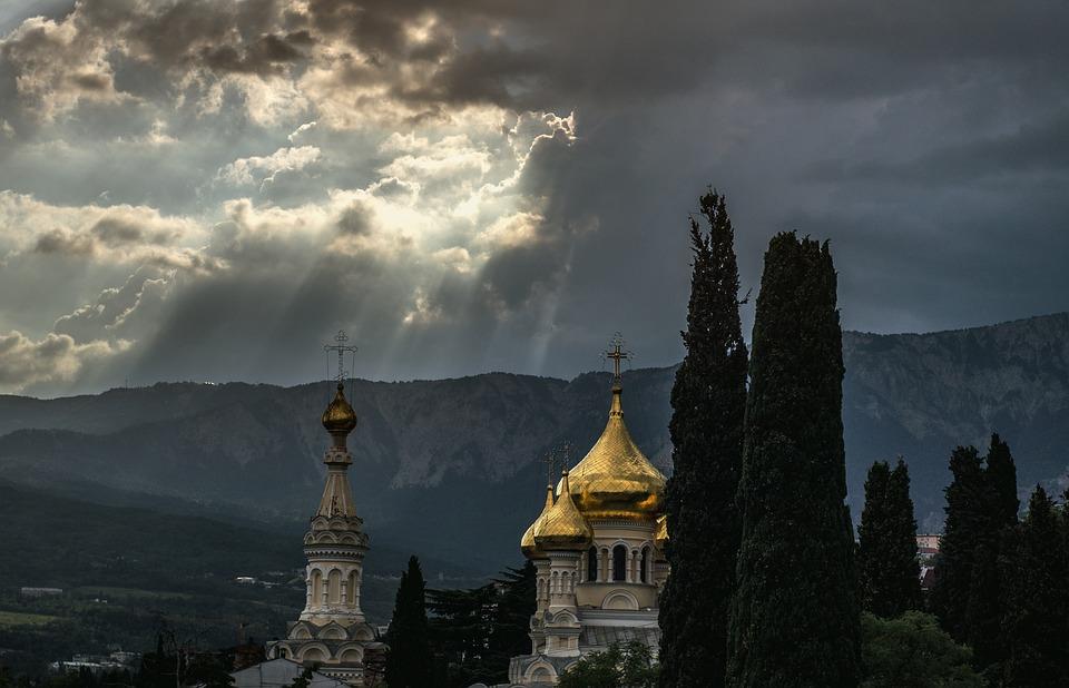 Sky, Temple, Church, Russia, Crimea, Summer, Dome