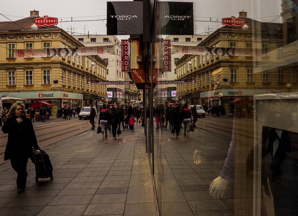 Reflection, City, Rush Hour, Store, Zagreb, Croatia