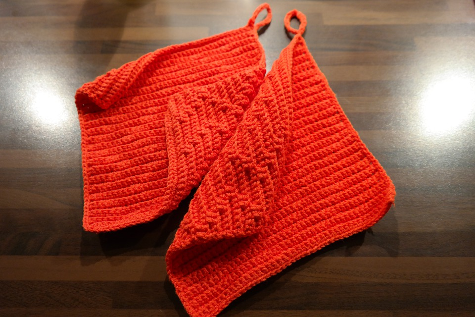 Free Photo Crochet Red Oven Mitts Wool Fabric Max Pixel