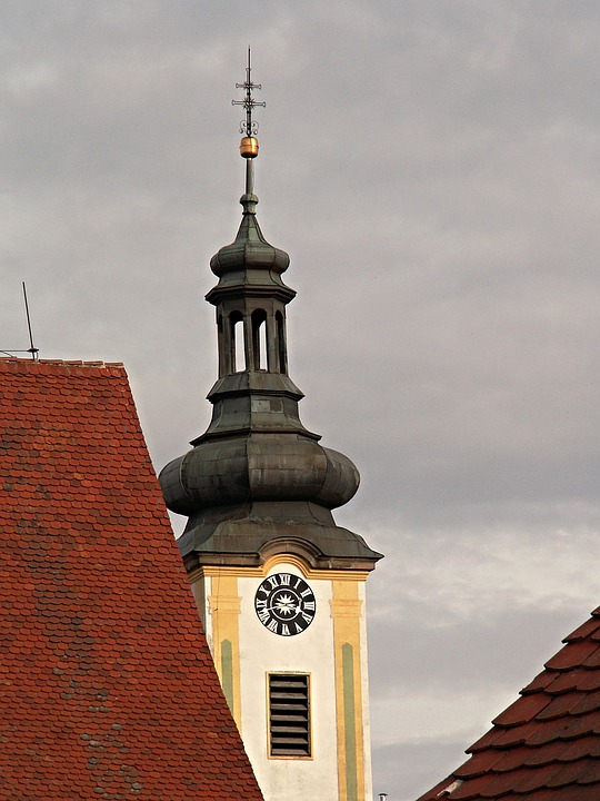 Steeple, Borovany, Architecture, Cross, Church Clock