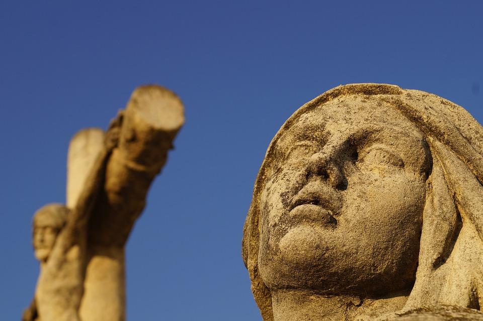 Suffering, Statue, Mary, Cross, Jesus