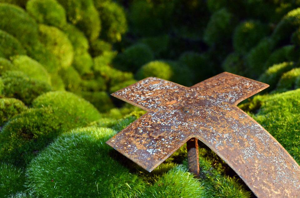Mourning, Cross, Moss, Stainless, Rusty, Grave