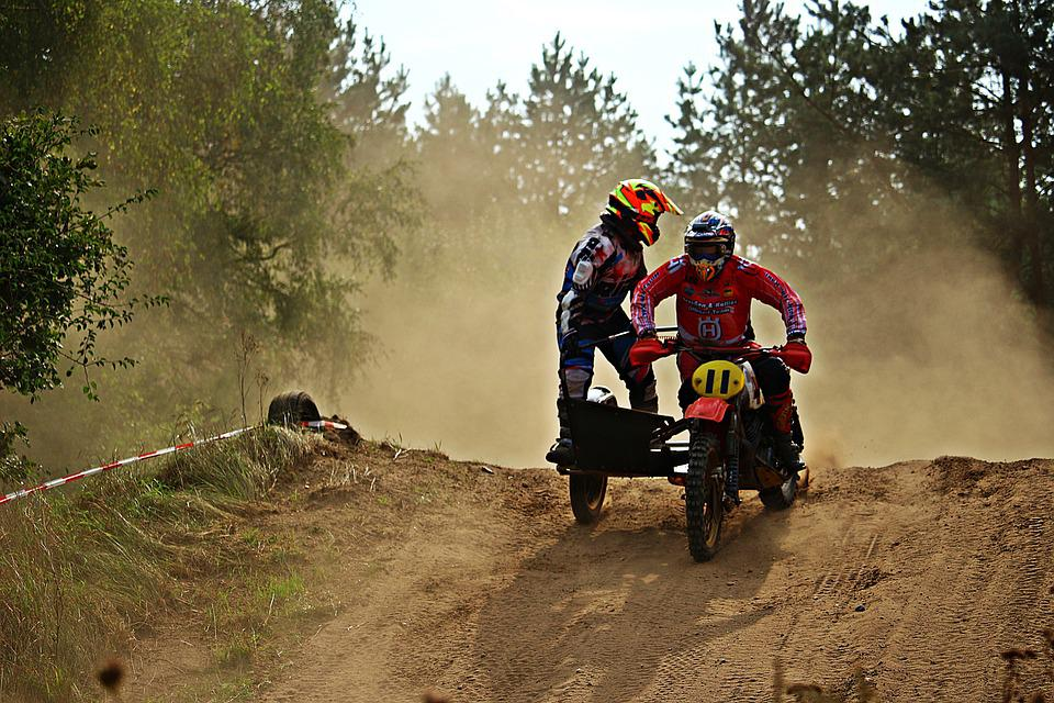 Cross, Motocross, Sidecar, Motorcycle, Sand, Race