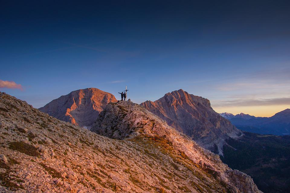 Mountain, Alps, Top, Cross, People, Summit, Mountains