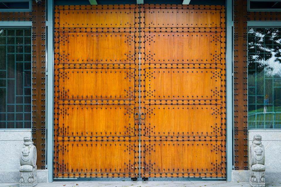 Gate, Chinese Gate, Cross, Orange, Rivet, Wood