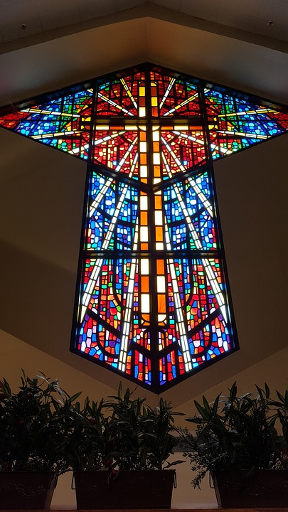 Stained Glass Window Cross Church Christian