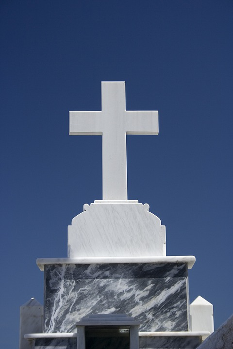 Cross, Blue, Stone, Symbol, Worship, Remembrance, Lamb