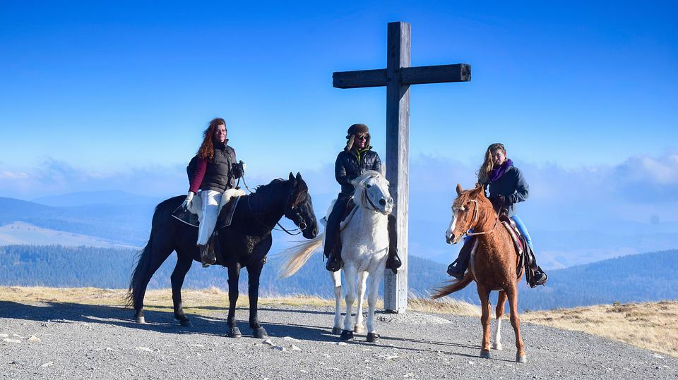Reiter, Horses, Animals, Landscape, Summit Cross, Cross