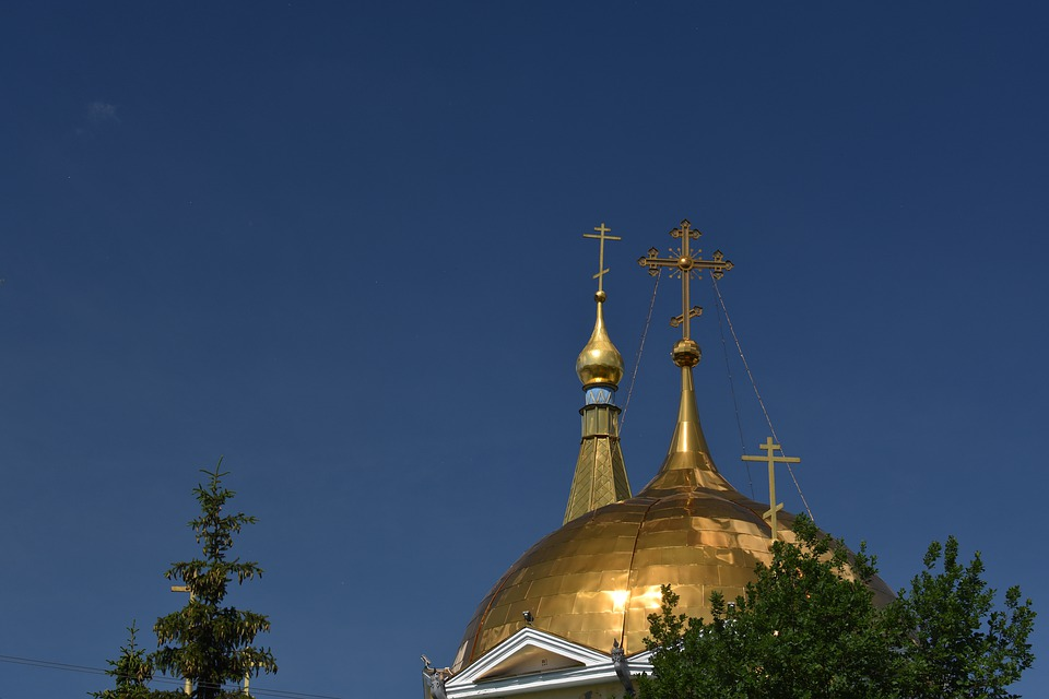 Church, Orthodox, Dome, Crosses, Novosibirsk, Russia
