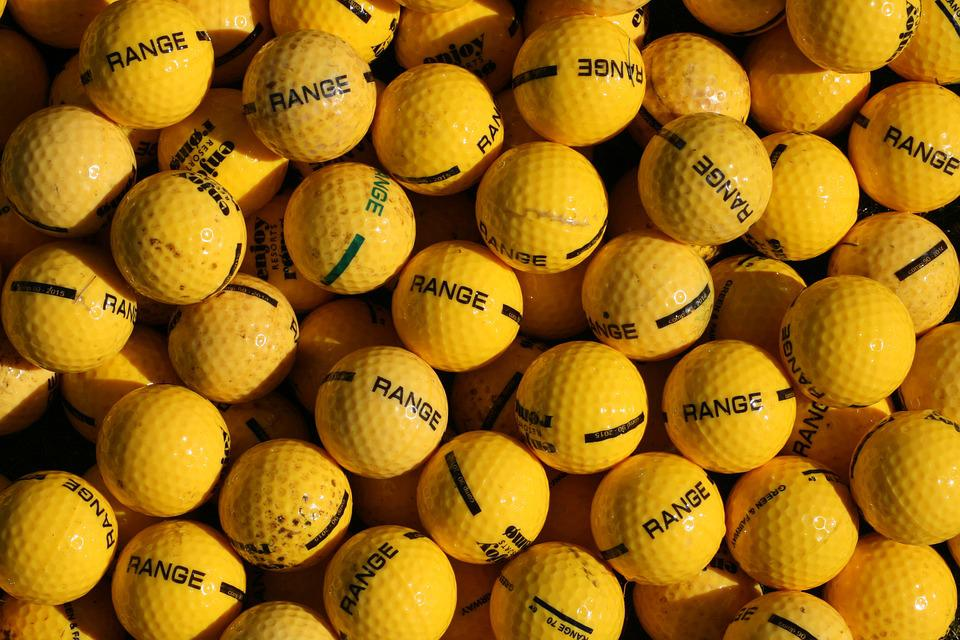Crowd, Golf, Driving Range, Yellow Balls, Similar