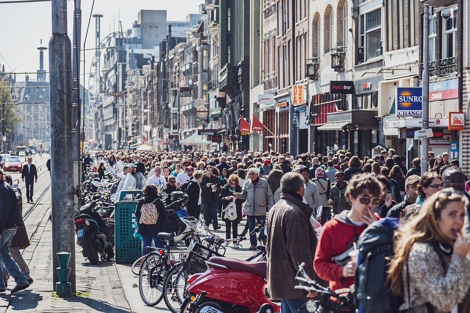Amsterdam, Netherlands, Crowd, People, Mass, Road, City