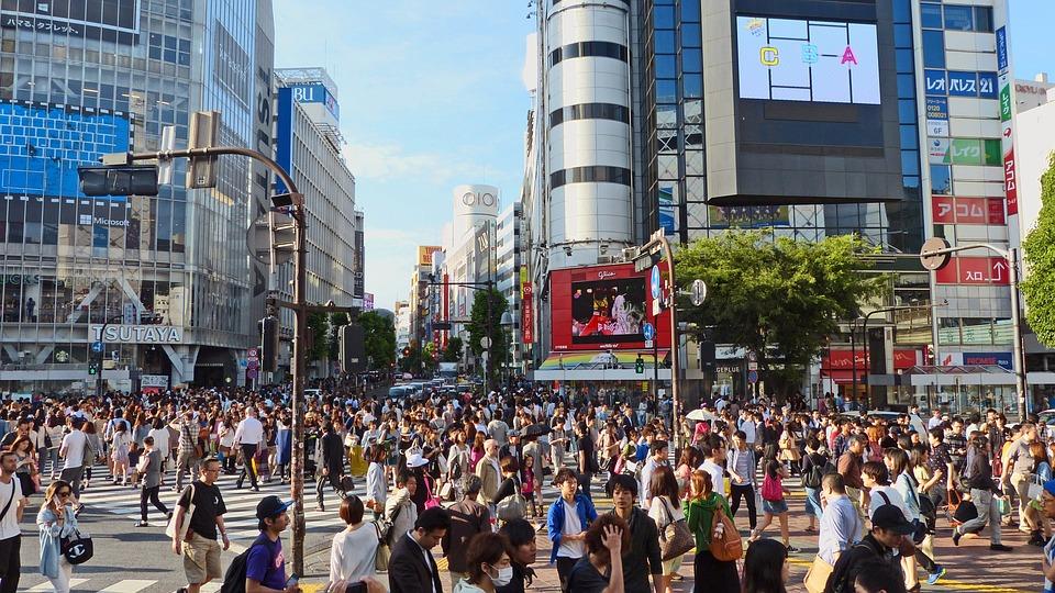 Japan, Tokyo, Shibuya, Japanese, Building, Crowd