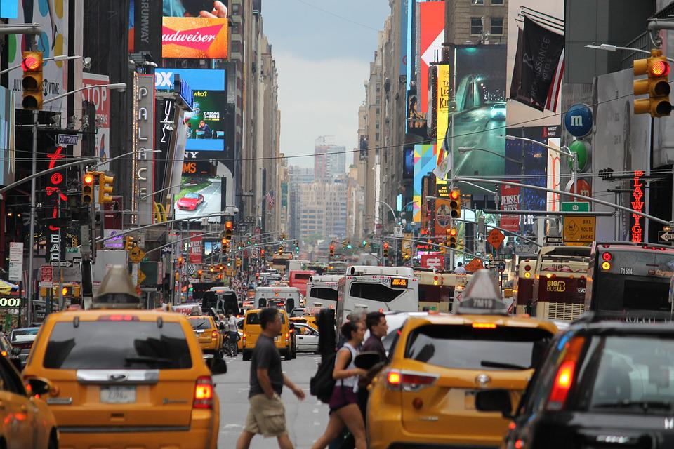 In New York City, Mass, Crowded, Taxi, Yellow, Traffic