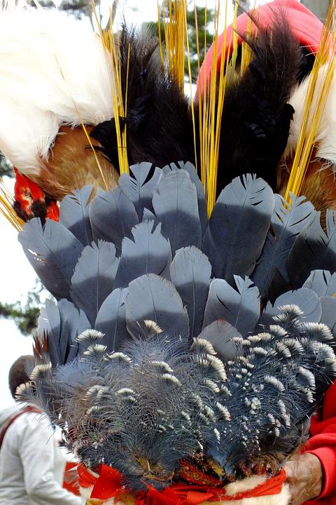 Feathers, Grey, Crown, Decorated