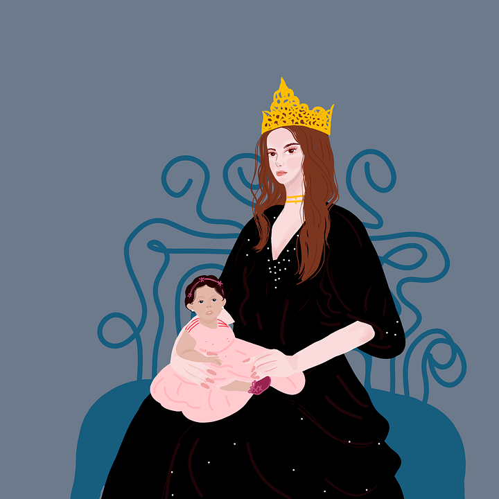 Queen, Baby, Portrait, Daughter, Mother, Crown, Royalty