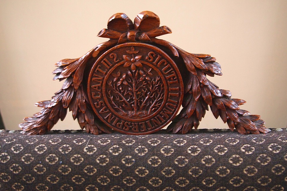 Woodcarving, Crown, Chair, Historical, Middle Ages, Old