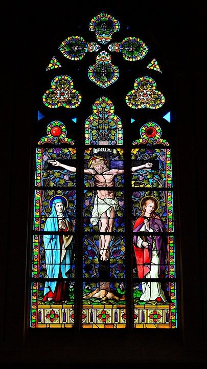 Church Window, Crucifixion, Stained Glass Window, Faith