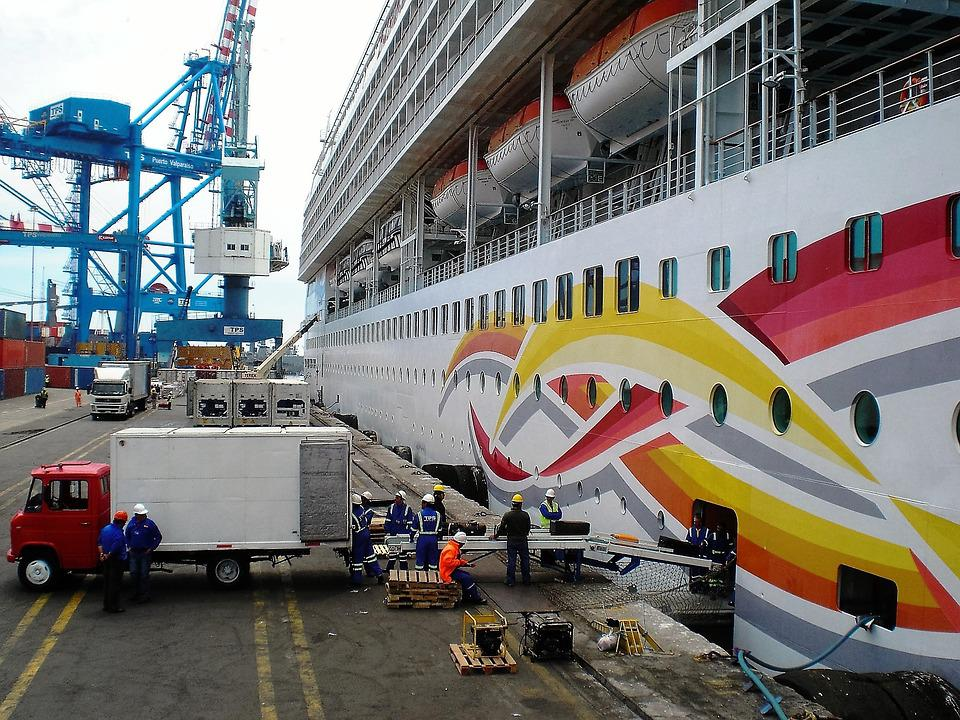 Cruise Boat, Quay, Loading And Unloading, Work, Stock