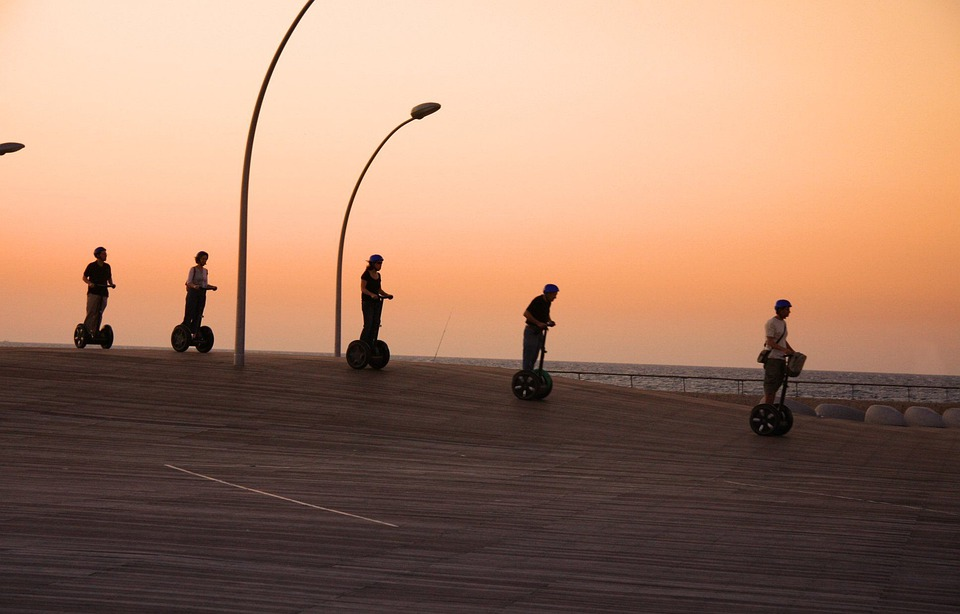 Segway, Group, Sunset, Transportation, Modern, Cruise