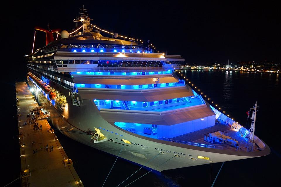 Cruise Ship, Night, Neon Light, Cruise, Port, Travel