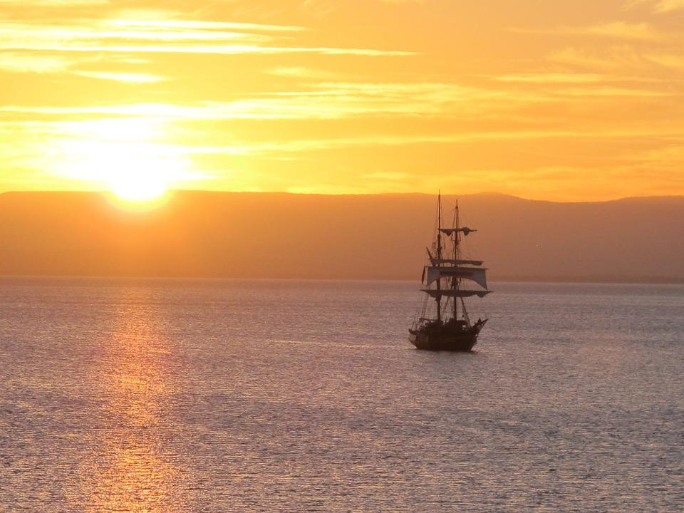 Sailboat, Sunset, Ship, Sailing, Sea, Boat, Cruise