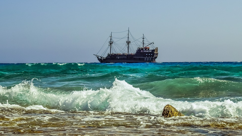 Sea, Rocky Coast, Waves, Cruise Ship, Pirate Ship